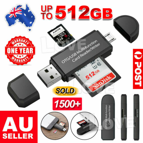Micro USB OTG to USB 2.0 Adapter SD/Micro SD Card Reader For Smartphones/PC AU
