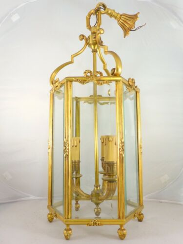 Louis XVI style French Lantern - Bronze & Beveled Glass - Early 20TH