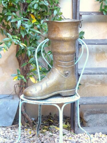 "20"" Large BOOT MID CENTURY FRENCH HAMMERED BRASS UMBRELLA STAND HOLDER Deco"