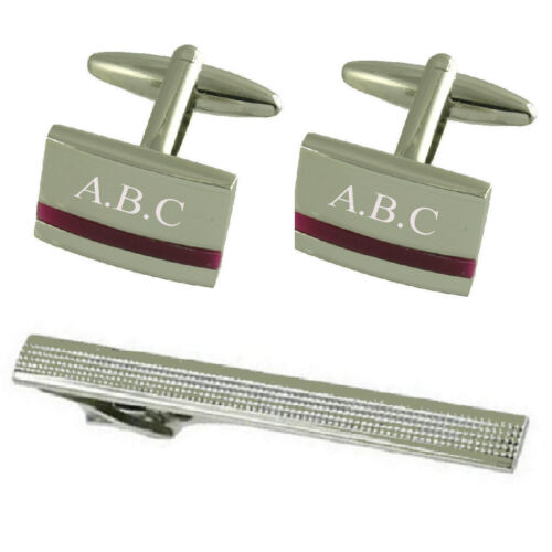 Purple Amethyst Silver Cufflinks Engraved Gift Set With Tie Clip 65Mm