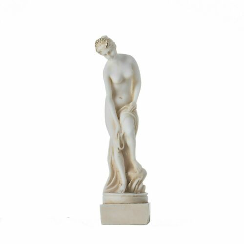 """Helen Of Troy Sparta Nude Naked Female Figure Alabaster Statue Gold Tone 5.9"""""""