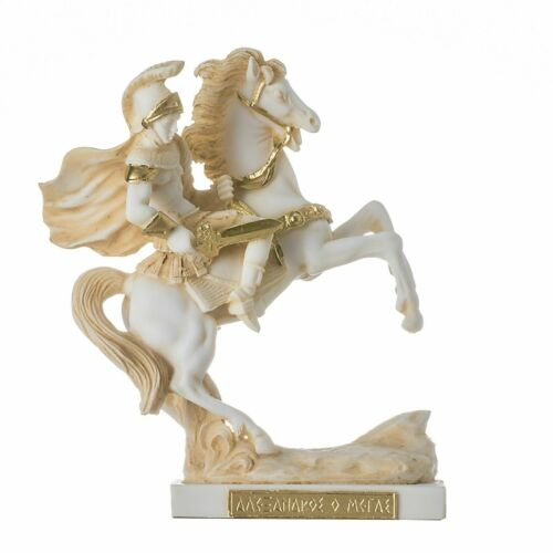 """Alexander The Great of Macedonia in his Horse Bucephalus Statue Gold Tone 7"""""""