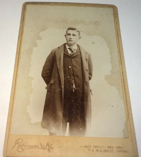 Antique Victorian American Fashion Young Man, Watch Chain! Chicago Cabinet Photo