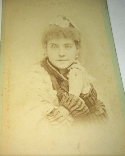Antique Victorian American Fashion Necklace Woman, Curly Frizzy Hair! CDV Photo!