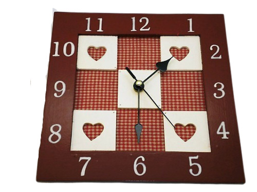 Wall Clock Square Wooden 3D Hearts Battery Operated Red & Cream F0376
