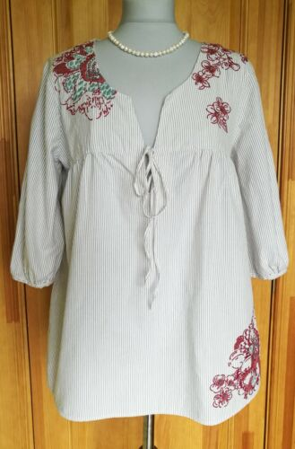 White Stuff  Cotton Tunic/Top/Blouse 3/4 Sleeve Size S/M , Good condition !