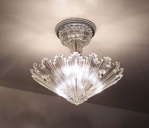 654 Vintage arT Deco Ceiling Light Lamp Fixture Glass  Starburst