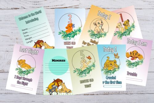 Baby Milestone Cards Lion King Pack of 33 Cards New Mum to be
