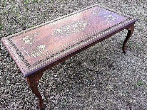 VINTAGE EARLY 20th CENTURY CARVED WOOD COFFEE TABLE WITH ELABORATE BRASS INLAY