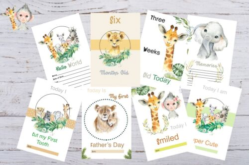Baby Milestone Cards Safari Animals Unisex Pack of 34 Baby Shower Gift New Mum t