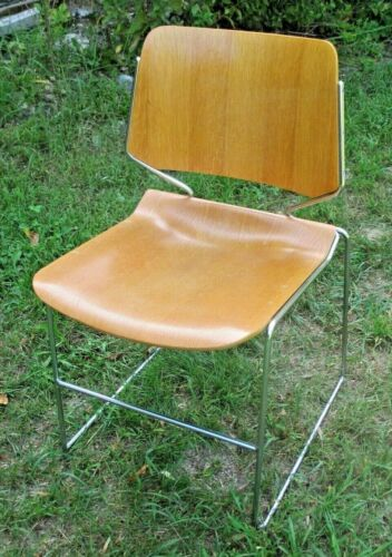 SET OF 8 DAVID ROWLAND MID CENTURY MODERN WOOD AND CHROME STACKING CHAIRS