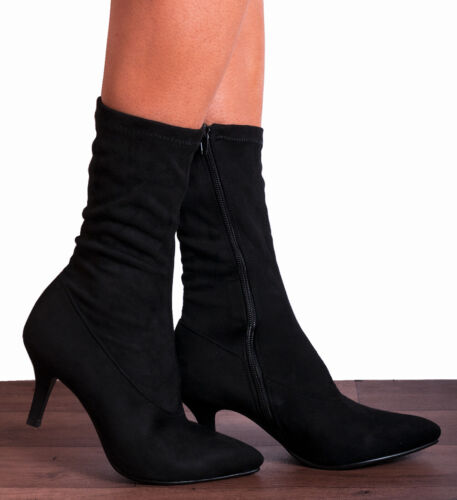 BLACK SOCK STRETCH KITTEN HEELED ANKLE BOOTS HIGH HEELS SHOES SIZE 3 4 5 6 7 8