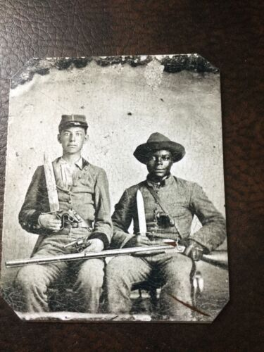 Sergeant A.M. Chandler and Silas Chandler (family slave) tintype C003RP