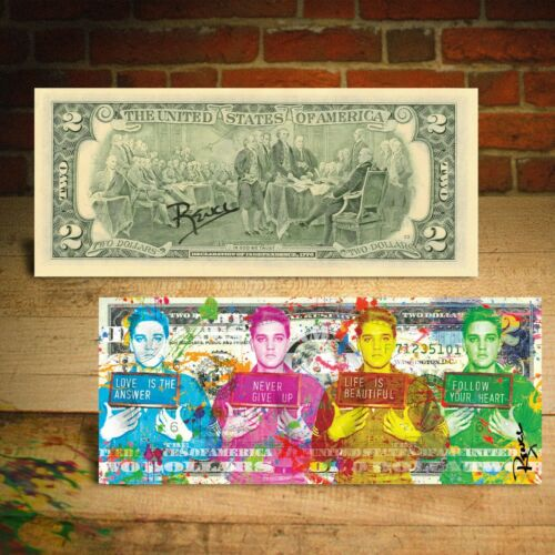 ELVIS PRESLEY Polychromatic Multi-Image Signs U.S. $2 Bill HAND-SIGNED by Rency