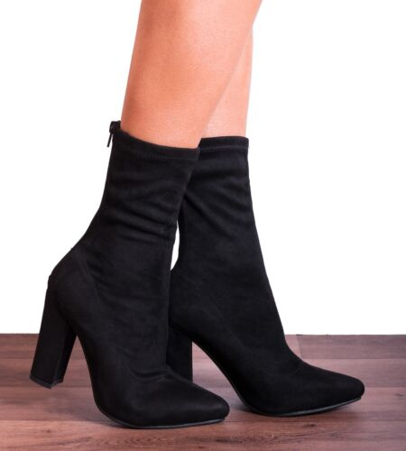 BLACK SOCK PULL ON STRETCH ANKLE HIGH BLOCK HEELED BOOTS SHOES SIZE 3 4 5 6 7
