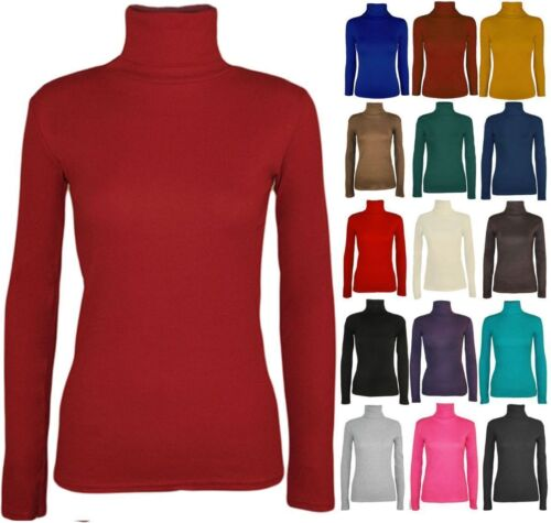 LADIES WOMENS  POLO NECK ROLL NECK TURTLE NECK PLAIN JUMPER TOP LONG SLEEVE 8-26
