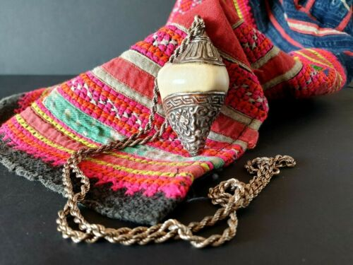 Old Tibetan Hand Made Silver Covered Conch Shell on Silver Chain …beautiful coll