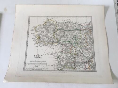 ORIGINAL 1831 SDUK Map Hand Colored Europe  -  Spain