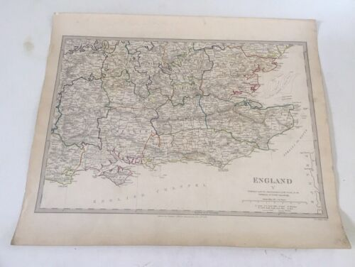 ORIGINAL 1838' SDUK Map Hand Colored England