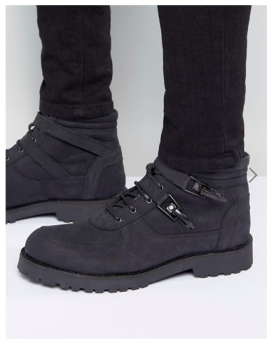 ASOS Lace Up Boot With Straps And Chunky Sole In Black Suede EU39