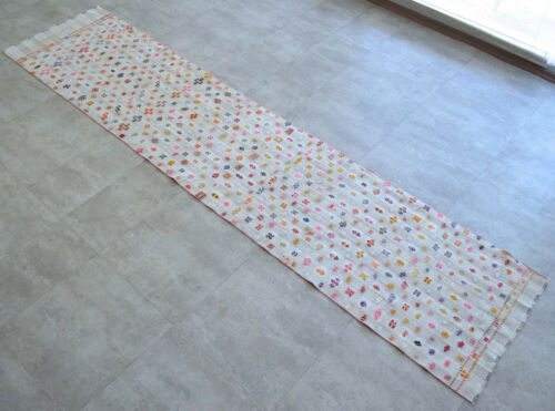 2x11 ft Rug Runner Turkish Hand MAde Cotton Hallway Rug Actual: 27x126 inches