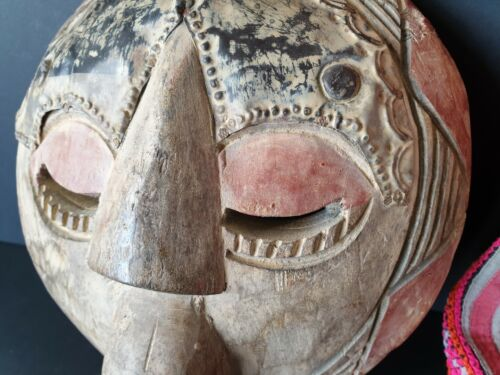 Old West African Carved Wooden Mask with Metal Trim (b) …beautiful collection it