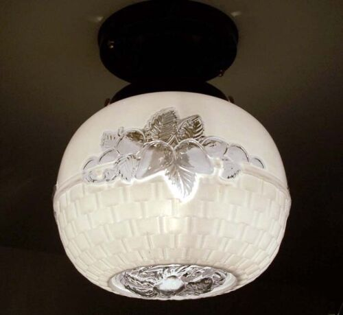 751 Vintage Antique aRT Deco Glass Globe Shade Ceiling Light Lamp Fixture