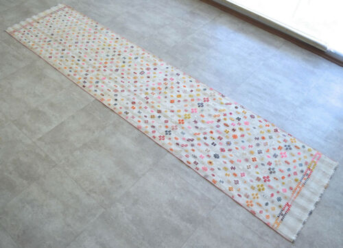 2x11 ft Rug Runner Turkish Hand MAde Cotton Hallway Rug Actual: 29x127 inches