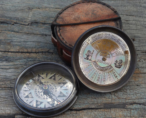 Antique Collectible Brass Compass With Nautical Pocket Calendar & Leather case