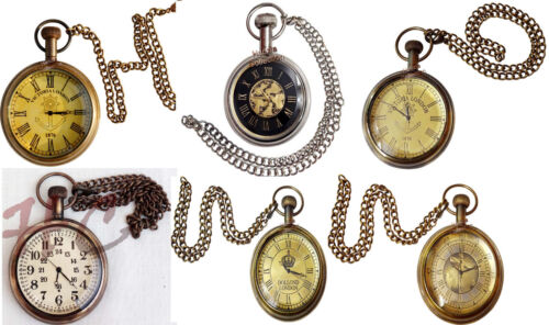 Maritime Antique Brass Pocket Watch Necklace~Nautical Collectible Clock Pandent