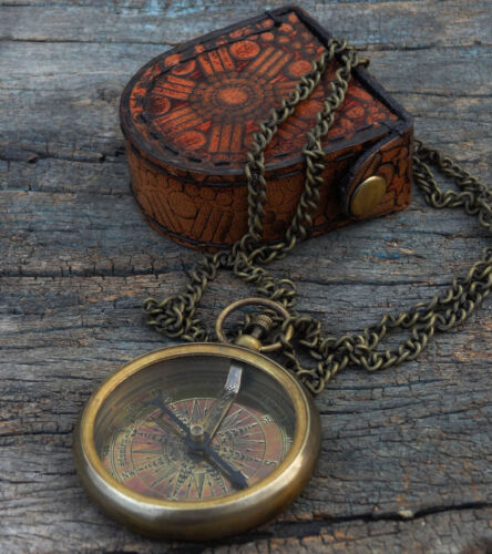 Brass Compass necklace compass leather  Box-Locket Compass with long chain