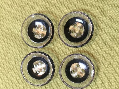 Vintage lot 4 glass clear painted black buttons set 4 hole saucer shaped 3/4""