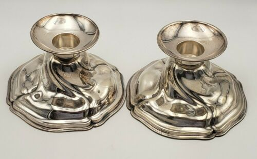 "Vintage Modernistic Pair of 3 1/2"" German Silver Candlestick Holders #6990"
