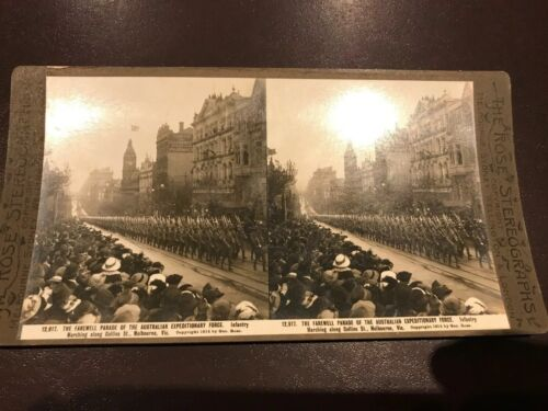 VINTAGE PHOTO STEREOGRAPH AUSTRALIAN MILITARY FORCE ANZAC MELBOURNE INFANTRY