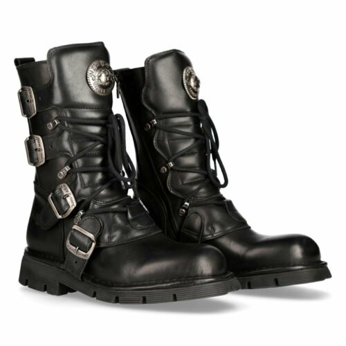 New Rock Comfort-Light Leather Boots - Black - 1473-S1 - Gothic,Goth