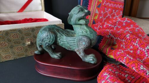 Old Chinese Bronze Alloy / Brass Foo Dog on Rose Pedestal in Presentation Box …