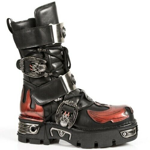 New Rock Bat Leather Platform Boots - Red - 195-S1 - Gothic,Goth