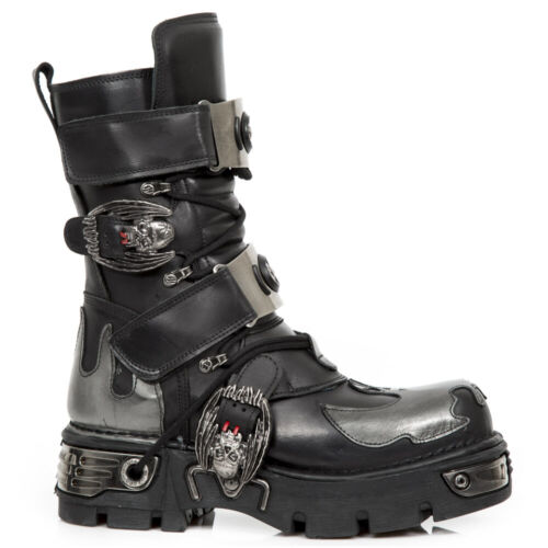 New Rock Bat Leather Platform Boots - Silver - 195-S2 - Gothic,Goth