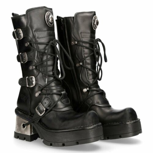 New Rock Solid Heel Leather Platform Boots - 373-S33 - Gothic,Goth