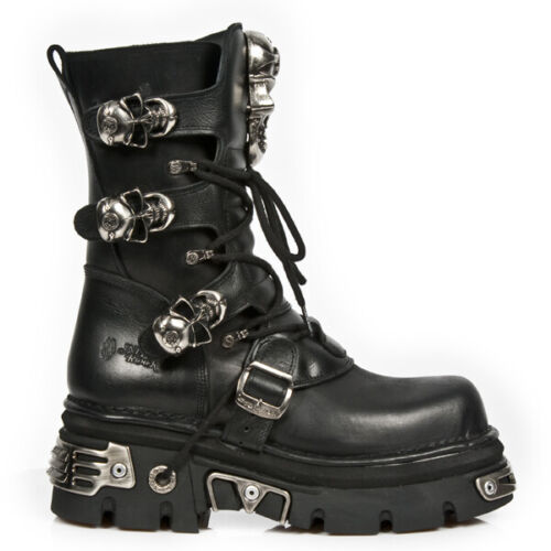 New Rock Skull Metallic Leather Platform Boots - 375-S1 - Gothic,Goth