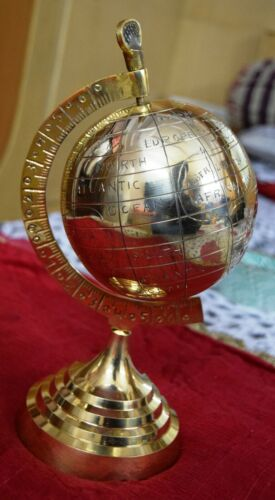 World Map Globe Brass Finish Hand Crafted Office Den Room Table Decor Gift MD13