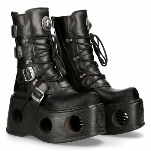 New Rock Spring Platform Leather Boots - 373-S2 - Gothic,Goth