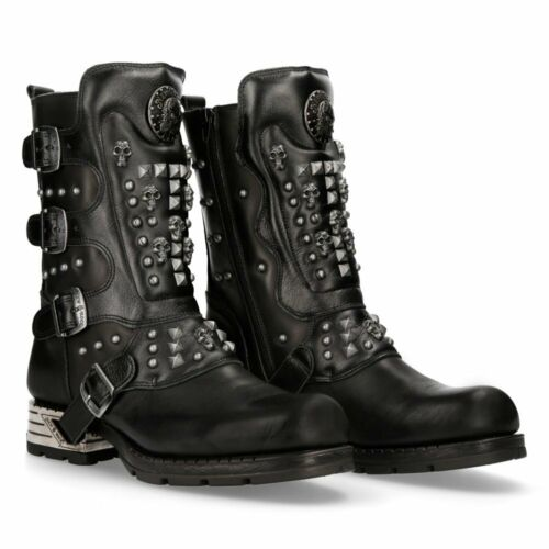 New Rock Motorock Studded Leather Boots - Black - MR019-S1 - Gothic,Goth