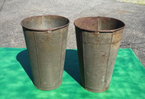 2 ANTIQUE TIN SAP Bucket w/ OLD COLOR GREAT DECOR FLOWERS Planters!