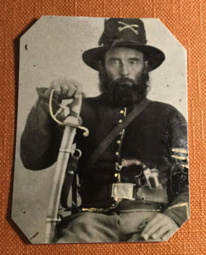 Civil War Military Soldier with beard Pistol & sword tintype C1069RP