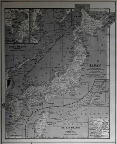 L@@K! Antique 1917 WWI World Atlas Map Japan Kuril Islands, Formosa, Italy L@@K!