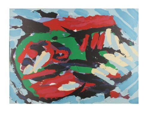"""""""Flying Head Over Ocean"""" by Karel Appel Lithograph on Paper LE of 160 30"""" x 22"""""""