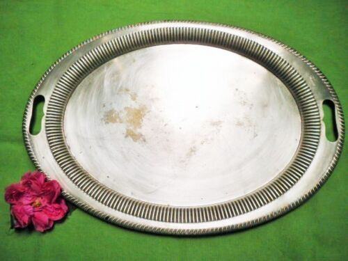 VINTAGE TRAY SILVER PLATED HUGE 55.5cm OVAL ALPHA HB & H PIE CRUST EDGE HANDLES