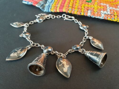 Antique 1920's Siam Sterling Silver & Black Enameled Charm Bracelet …collection
