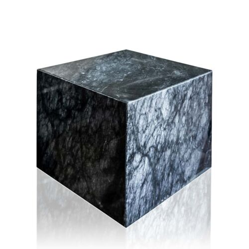Cubo in Marmo Nero Marquinia Black Marble Cube Sculpture Art Craft Home 20cm